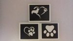 10 - 100 x dog paw stencil mix (3 designs) for etching on glass Crufts heart